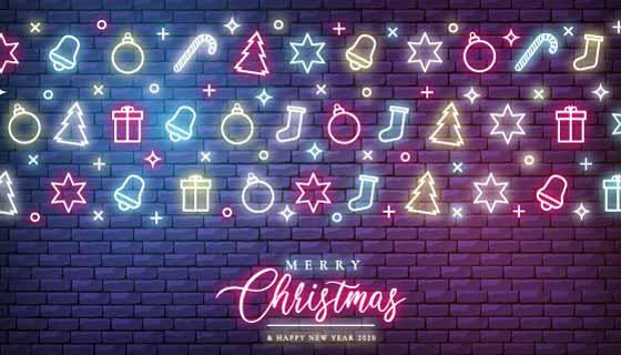 霓虹灯圣诞节元素矢量素材(EPS)