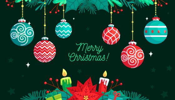 扁平风格圣诞球设计圣诞节背景矢量素材(AI/EPS)