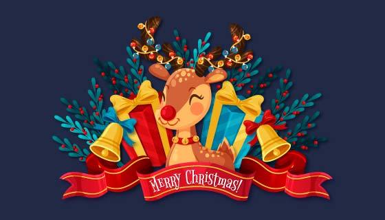 可爱的圣诞驯鹿圣诞节背景矢量素材(AI/EPS/PNG)