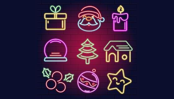 霓虹灯圣诞节元素矢量素材(AI/EPS/PNG)