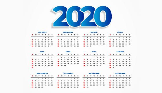 简洁的2020年日历矢量素材(EPS/PNG)