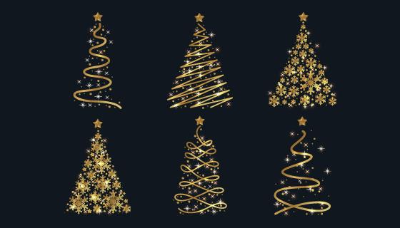 抽象的金色圣诞树矢量素材(AI/EPS)
