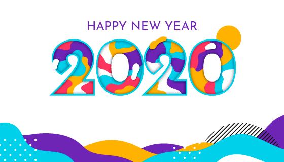 多彩的2020新年快乐背景矢量素材(AI/EPS)