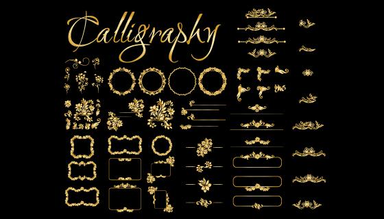 各种各样的金色装饰元素矢量素材(EPS/PNG)
