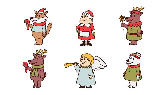 手绘圣诞节人物矢量素材(AI/EPS/PNG)