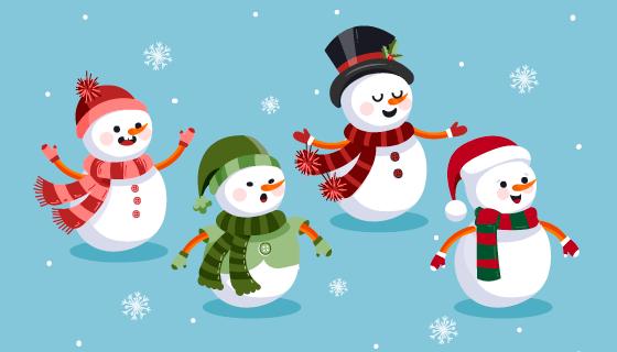 扁平风格可爱的雪人矢量素材(AI/EPS/PNG)