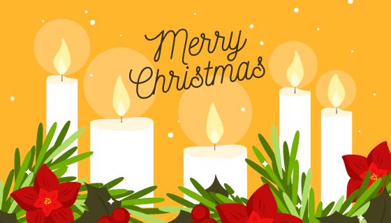 扁平风格圣诞节蜡烛背景矢量素材(AI/EPS)