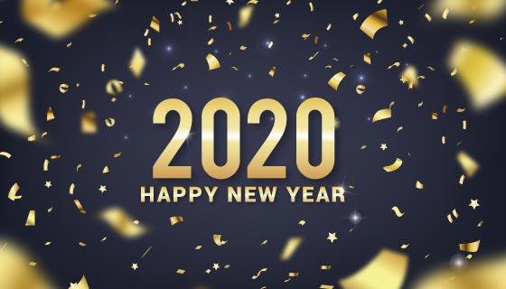 金色纸屑2020新年快乐背景矢量素材(AI/EPS)