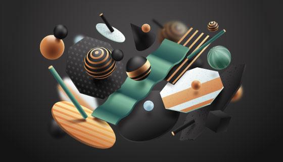 抽象3D几何物体矢量素材(AI/EPS)
