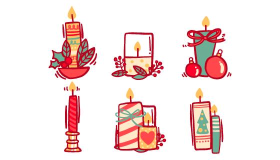手绘风格圣诞节蜡烛矢量素材(AI/EPS/PNG)