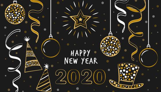 手绘风格金色2020新年快乐矢量素材(AI/EPS/PNG)