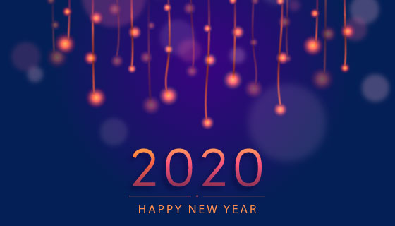 模糊的2020新年快乐背景矢量素材(AI/EPS)