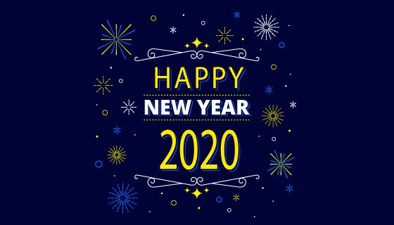 扁平创意2020新年快乐背景矢量素材(ai/eps/png)