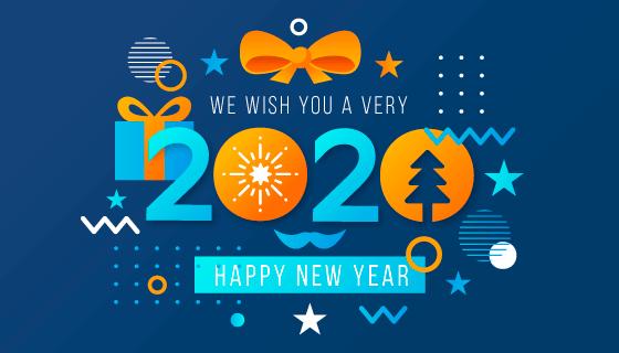 创意扁平风格2020新年快乐背景矢量素材(AI/EPS/PNG)