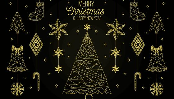 金色元素圣诞节背景矢量素材(AI/EPS/PNG)