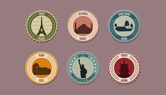 6张圆形城市标记邮票矢量素材(eps/ai)