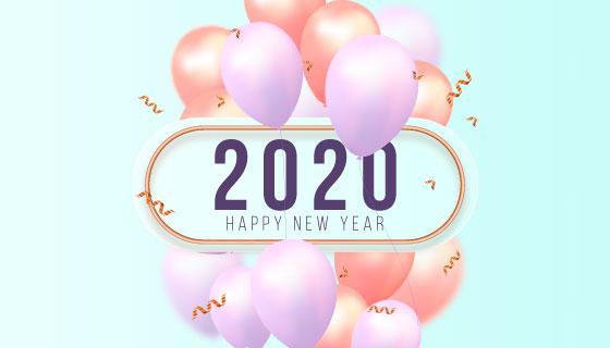 漂亮气球设计2020新年快乐背景矢量素材(AI/EPS)