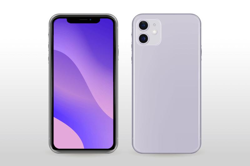 紫色iPhone11正反面矢量素材(AI/EPS)
