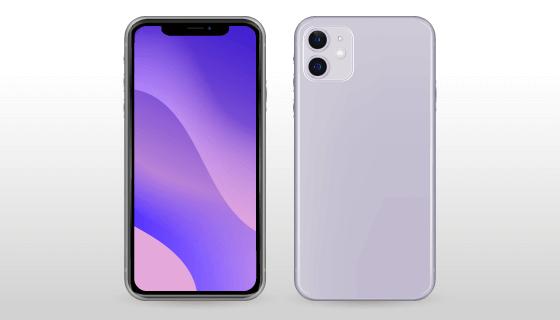 紫色iPhone 11正反面矢量素材(AI/EPS)