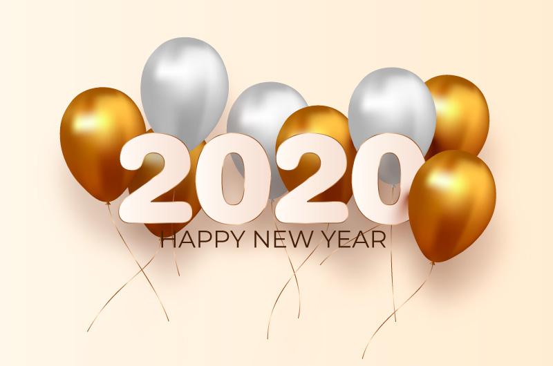 金色白色气球2020新年快乐背景矢量素材(AI/EPS/免扣PNG)