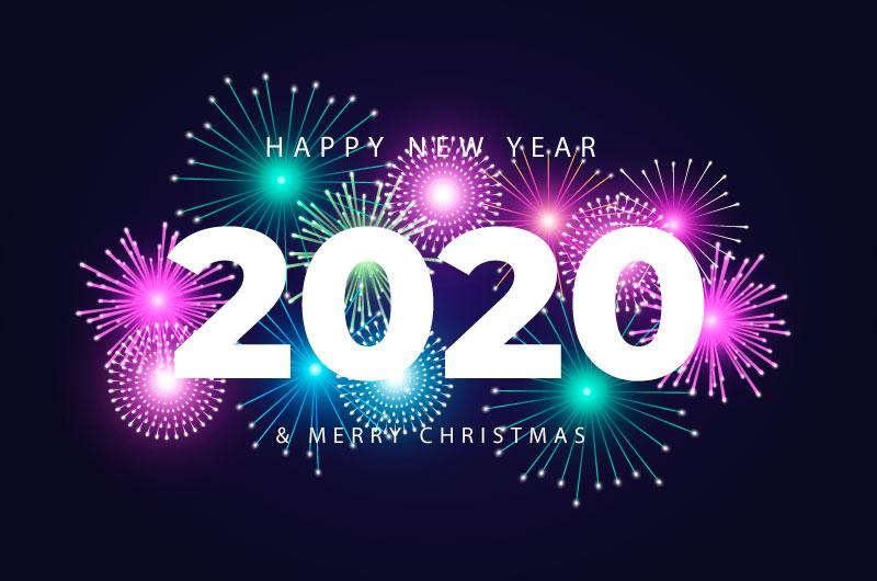 多彩烟花2020新年快乐背景矢量素材(AI/EPS/免扣PNG)