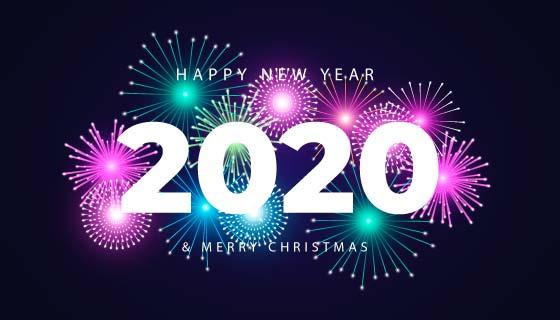 多彩烟花2020新年快乐背景矢量素材(AI/EPS/PNG)