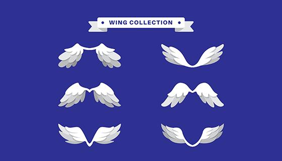 6款白色翅膀矢量素材(EPS/AI)