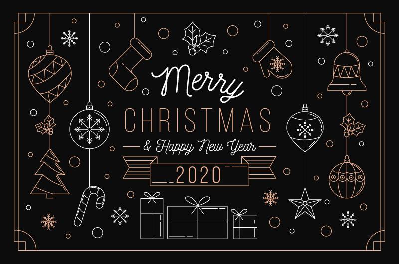 圣诞节概念轮廓背景矢量素材(AI/EPS/免扣PNG)