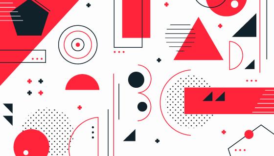 扁平风格几何图形背景矢量素材(AI/EPS/PNG)