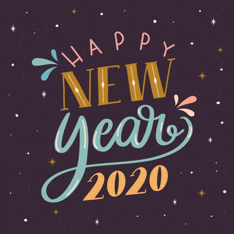 复古的2020 Happy New Year字体矢量素材 Ai Eps Png Dowebok
