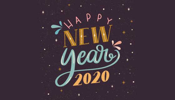 复古的2020 happy new year字体矢量素材(AI/EPS/PNG)