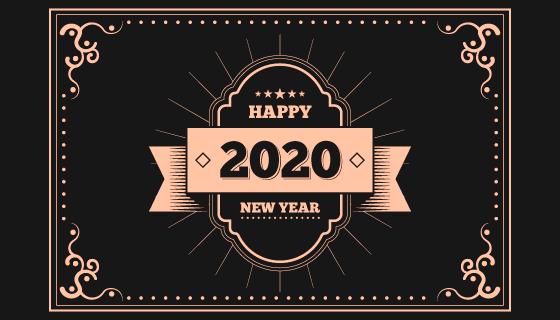 复古的2020新年快乐背景矢量素材(AI/EPS/PNG)