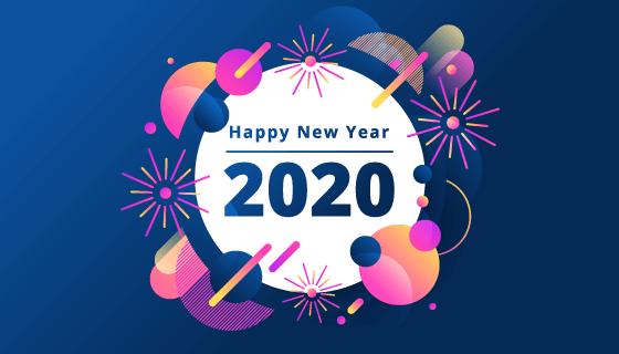 扁平多彩的2020新年快乐背景矢量素材(AI/EPS)
