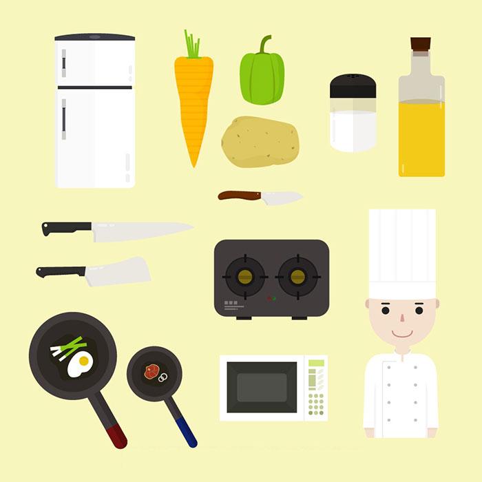 烹饪题材图标矢量素材(EPS/AI)