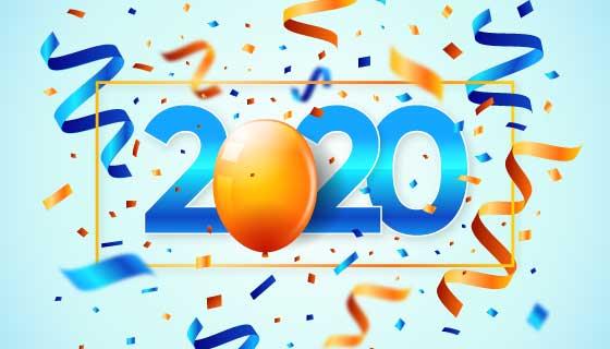 五彩纸屑设计2020新年快乐背景矢量素材(AI/EPS)