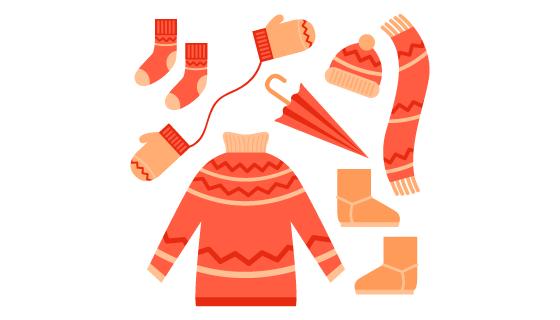 扁平风格冬天衣服矢量素材(AI/EPS/PNG)