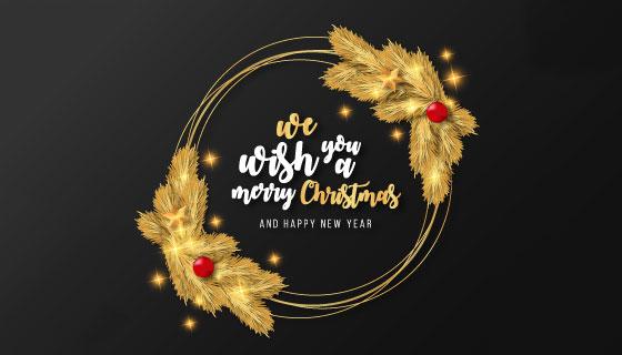 圣诞节金色圆环矢量素材(EPS)