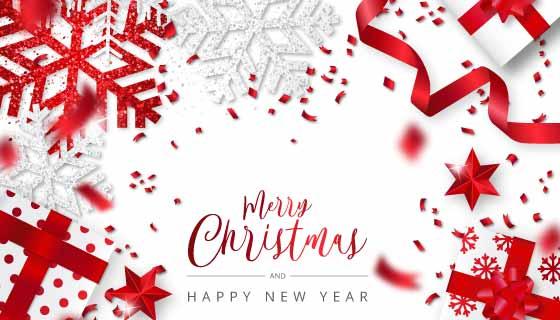 红色白色雪花彩带圣诞节背景矢量素材(EPS)