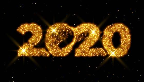 金光闪闪2020新年设计矢量素材(EPS)