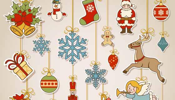 各种各样的圣诞节装饰品矢量素材(EPS/PNG)