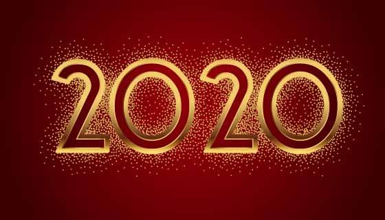 金色闪闪发光的2020矢量素材(EPS/PNG)