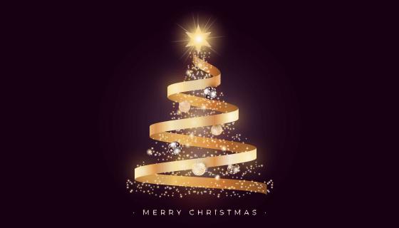漂亮的金色丝带圣诞树矢量素材(EPS/PNG)