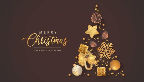 各种金色装饰品拼成的圣诞树矢量素材(EPS)