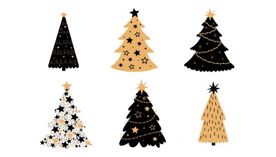 手绘风格圣诞树矢量素材(AI/EPS/PNG)