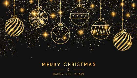 金色圣诞球设计圣诞节背景矢量素材(EPS)