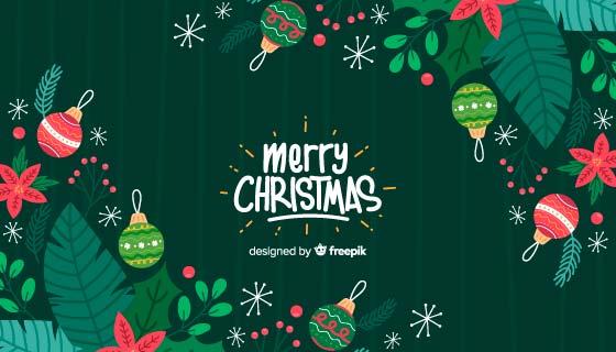手绘绿色圣诞节背景矢量素材(AI/EPS)