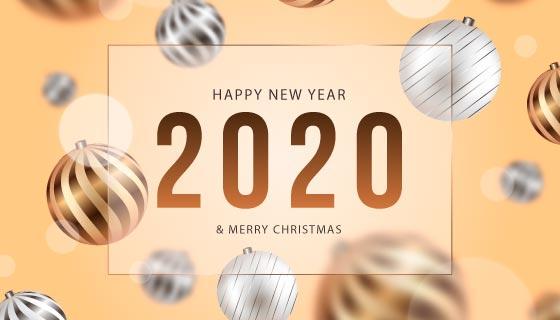 散景圣诞球新年快乐和圣诞节背景矢量素材(AI/EPS)