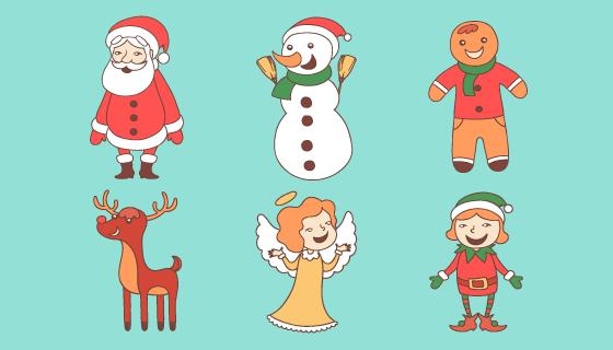 手绘风格圣诞节人物矢量素材(AI/EPS/PNG)