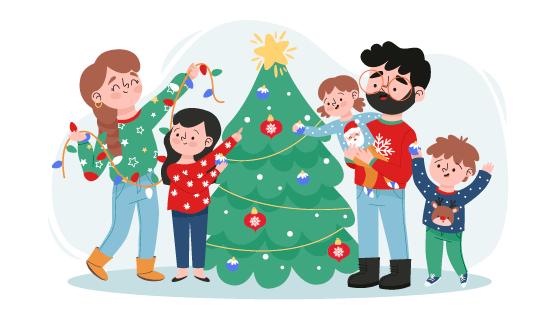 一家人快乐的装饰圣诞树矢量素材(AI/EPS/PNG)