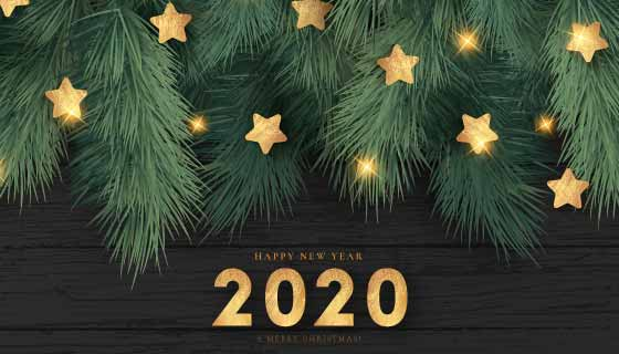 绿色树枝和金色星星2020新年快乐背景矢量素材(EPS/PNG)